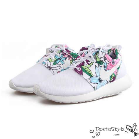 nike roshe run womens mens shoes floral all white