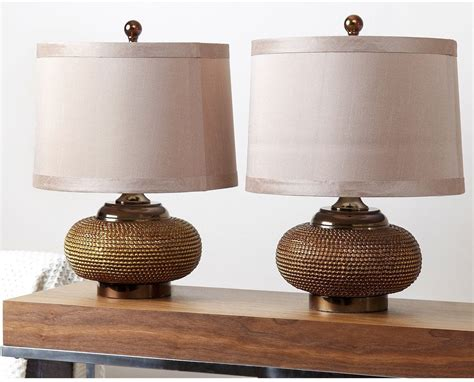 bronze table for living room modern table l set of 2 fabric shades gold antique