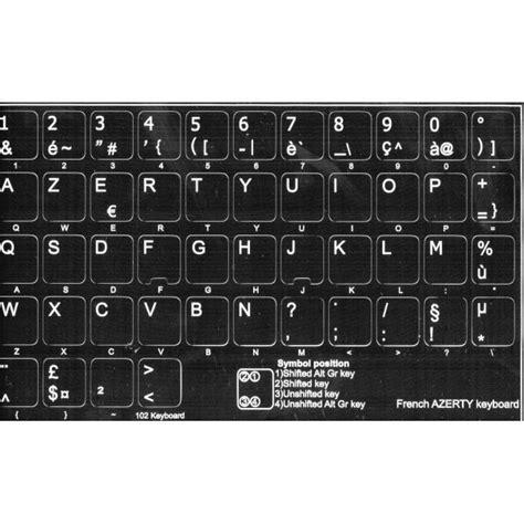lettere tastiera adesivi etichette tastiera francese fondo nero lettere bianche