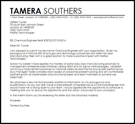 Application Letter Chemical Engineer Chemical Engineer Cover Letter Sle Livecareer