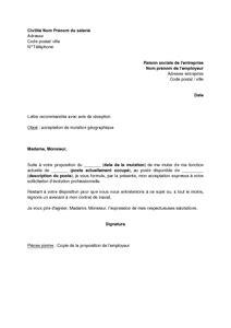 Exemple De Lettre De Motivation Mutation lettre d acceptation de mutation par le salari 233 mod 232 le de lettre gratuit exemple de lettre