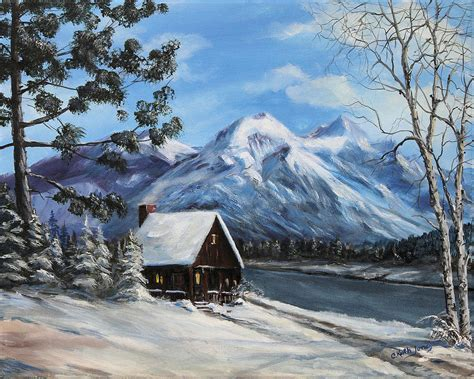 snowy mountain cabin painting by c keith jones