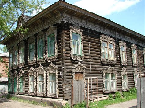 file traditional wooden house in tomsk siberia russia