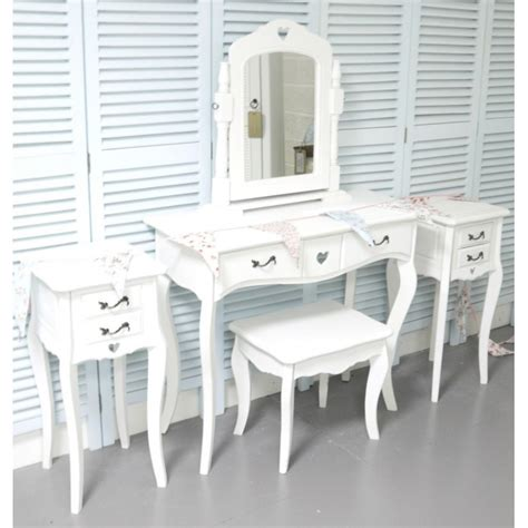 white shabby chic bedside table white dressing table vanity mirror stool and 2 bedside