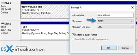 diskpart format refs windows 10 with refs for veeam backup repository esx
