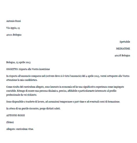 lettere esempio esempio di lettera di presentazione in risposta ad un