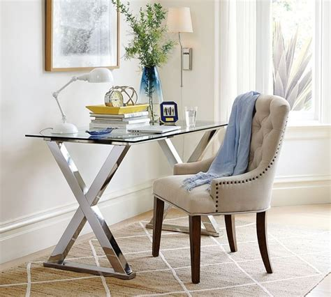 pottery barn glass desk 15 home offices featuring trestle as desks