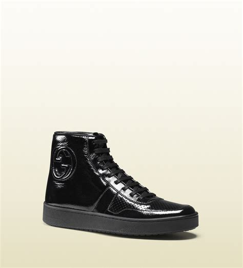 mens black patent leather sneakers gucci soft patent leather high top sneaker in black for