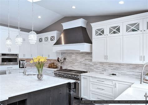 white gray cabinet marble countertop marble subway kitchen