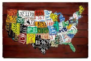 wall us map made from state license plates