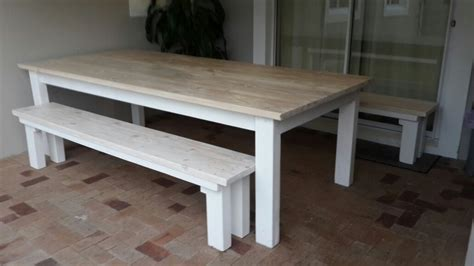 White Wood Patio Furniture by Pine Patio Dining Table Two Benches In White Wash Stain
