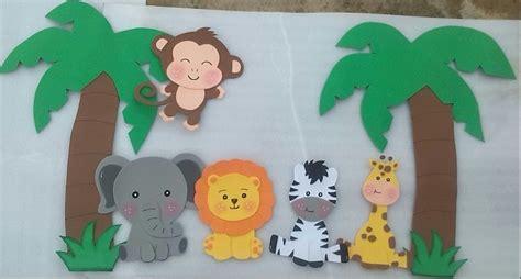 moldes de animales de la selva en goma eva figuras safari foami imagui