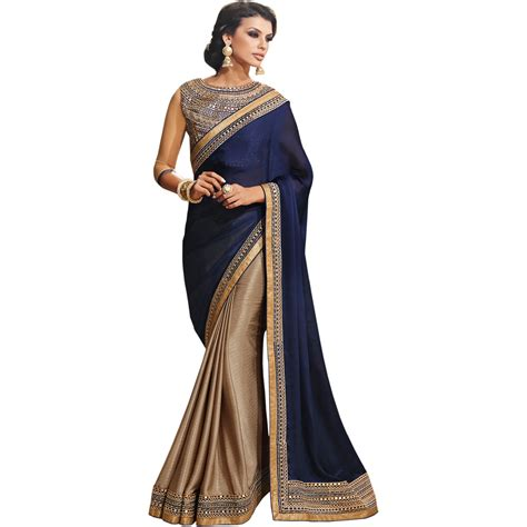 And Gold Sari navy blue and gold sari