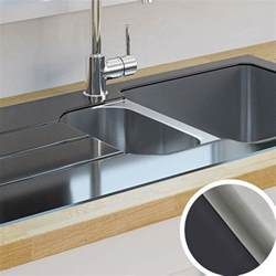 Kitchen Sink And Faucet Kitchen Sinks Metal Amp Ceramic Kitchen Sinks Diy At B Amp Q