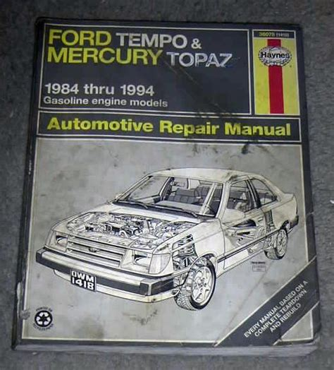 service manual 1988 mercury topaz vvti engines repair service manual 1994 ford tempo vvti engines repair manual 1992 ford tempo mercury topaz