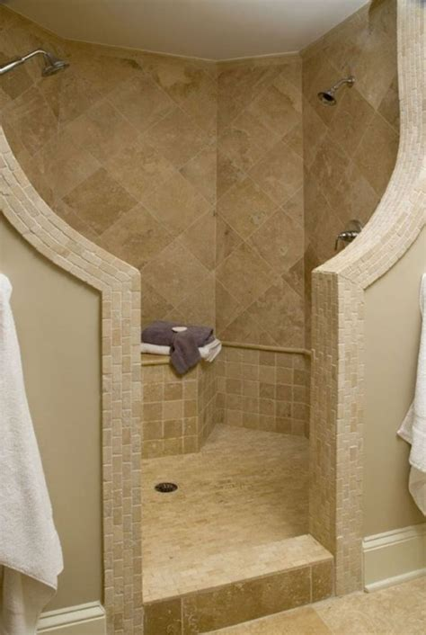 bathroom ideas of doorless walk in shower for small