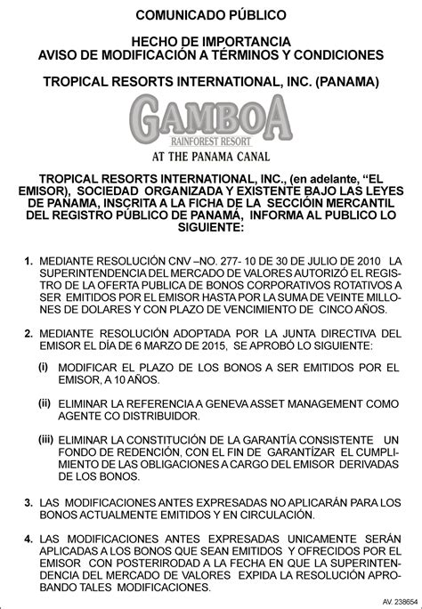 modelo de adenda de contrato 2016 news and events bvpa tropical resorts international inc