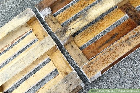 How To Make A Bed Frame From Pallets How To Make A Pallet Bed Frame 6 Steps With Pictures Wikihow