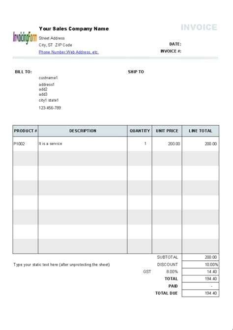 invoice template nz excel invoice template ideas