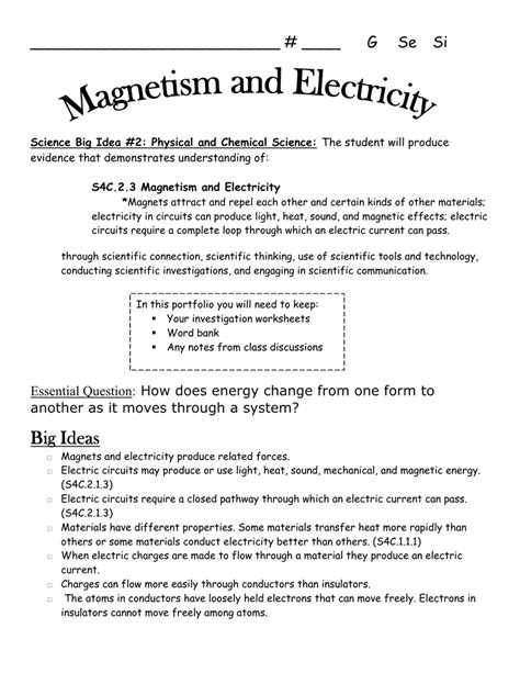 Magnetism Worksheet Answers Free Printables Worksheet