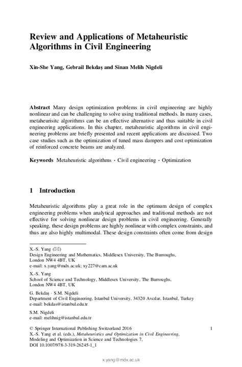 Applications Of Metaheuristic Optimization Algorithms In Civil Eng metaheuristics and optimiztion in civil engineering