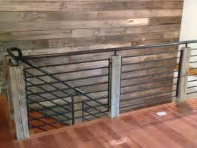 Transitional Style Sofas Reclaimed Wood And Steel Railing Industrial Staircase