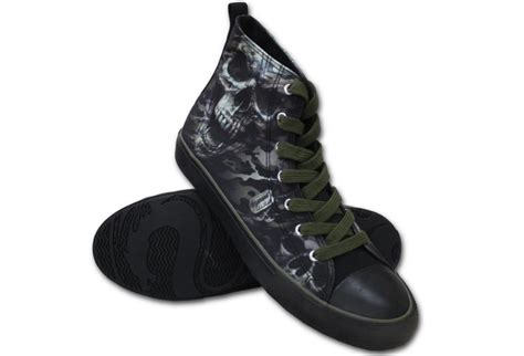 Lace Up High Top Sneakers camo skull s spiral lace up high top sneakers