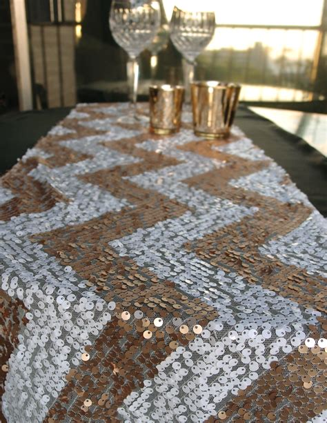 Home Decor Turquoise And Brown chevron sequin table runner champagne amp white
