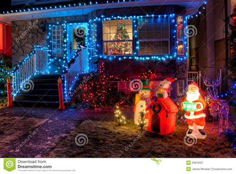 house decorated with christmas lights stock image image
