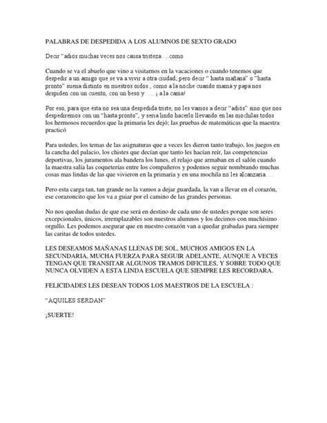 discurso para despedir egresados guadalajara despedida a los alumnos de sexto grado