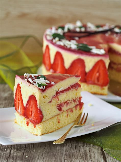 erdbeer vanillepudding kuchen vanille erdbeer torte zum kaffee dazu