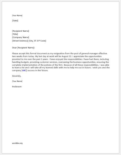 General Letter Of Resignation by General Manager Resignation Letter Word Document Templates
