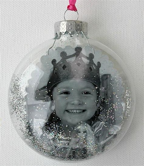 clear glass christmas ornament with photo inside