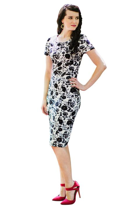 Amila Dress Black modest knee length dresses with sleeves amelia in black and white print