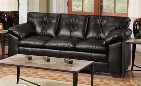black leather sofa and loveseat set sebring back black bonded leather sofa and loveseat set