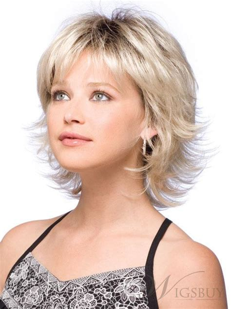 Photos Medium Length Flip Hairstyles | sweet shoulder length flip platinum lace front wig for a