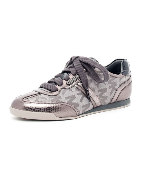 michael kor sneakers michael michael kors logo metallic sneaker in silver