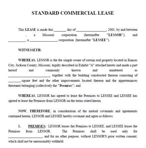 commercial property rental agreement template printable sle commercial lease agreement form real