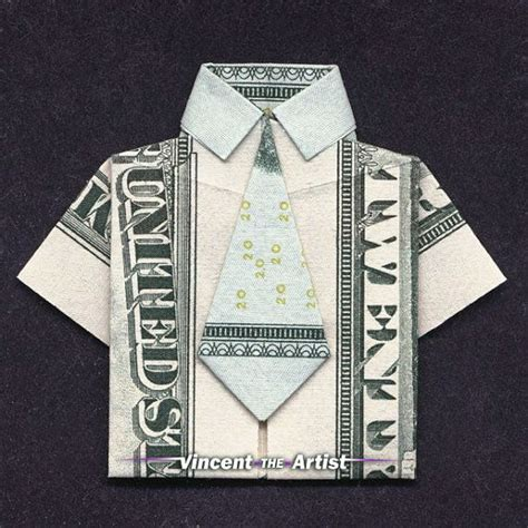 Dollar Shirt Origami - money origami shirt made with 20 bill money dollar