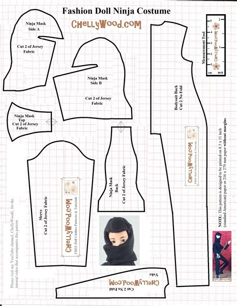 ninja uniform pattern sew your own diy fashion dolls ninjawarrior uniform w