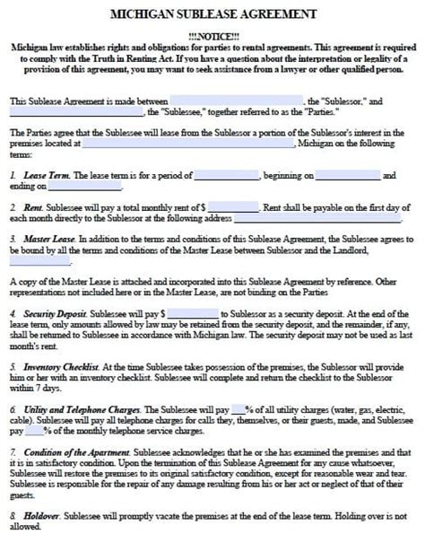 Free Michigan Sublease Agreement Form Pdf Template Rental Agreement Template Michigan