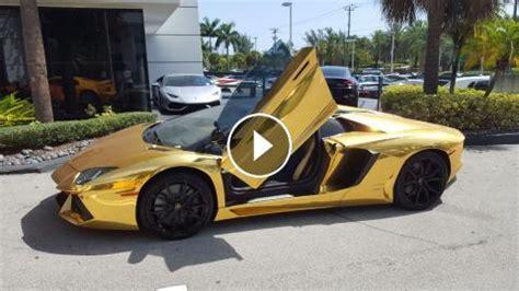 Golden Lamborghini Gold Lamborghini Aventador Roadster Lp700 4 Start Up