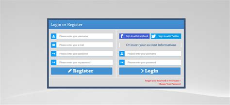 php ajax login register form with social network by