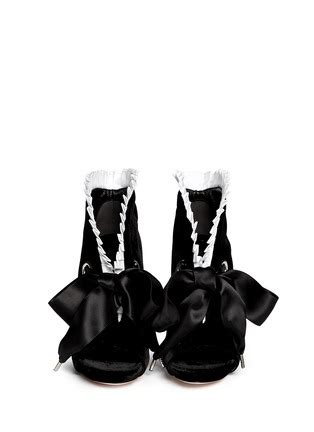 Mcqueen Bow Back Ankle Boots by Mcqueen Pleat Trim Satin Bow Velvet Ankle