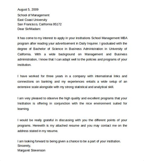 cover letter mba application sle professional cover letter exle 9 free