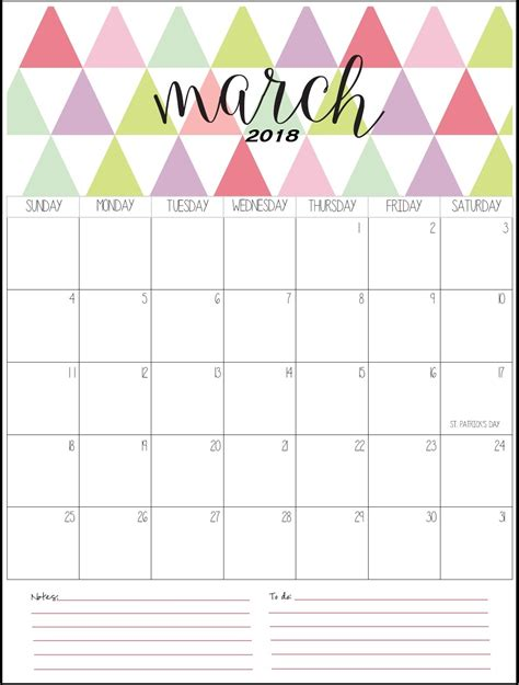 printable calendar 2018 cute march 2018 calendar calendar 2018