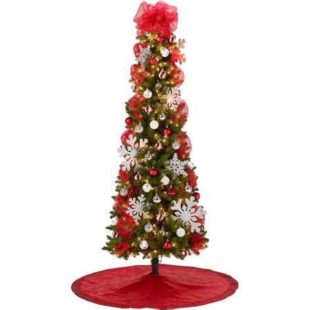 christmas tree toppers at walmart 7 pre lit brinkley pine tree with and silver decoration kit walmart
