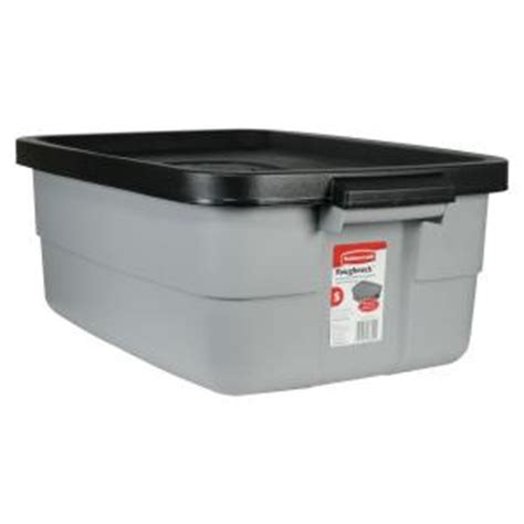 rubbermaid roughneck 10 gal storage tote fg2214tpmicbl