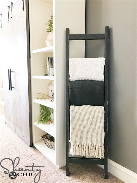 diy  rustic blanket ladder shanty  chic