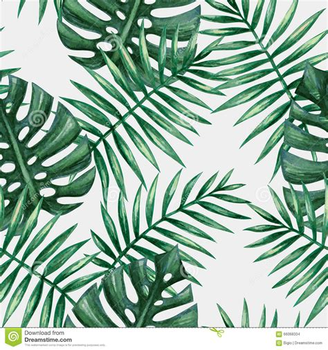 palm leaf pattern vector watercolor tropical palm leaves seamless pattern stock